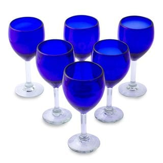 Set of 6 Blown Glass Wine Glasses, 'Blue Envy' (Mexico)