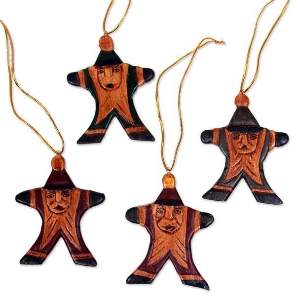 Handmade Set of 4 Wood Ornaments, 'Happy Santa' (Indonesia)