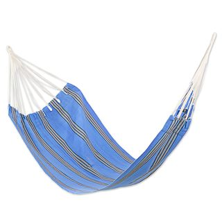 Single Handwoven Hammock, 'Sky and Sea' (Guatemala)