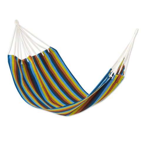 Handmade Single Hammock, 'Country Roads' (Guatemala)