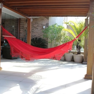 Handmade Single Cotton Hammock With Spreader Bars, 'Tropical Red' (Brazil)