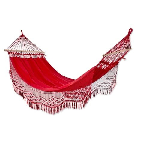 Handmade Tropical Red Cotton Hammock (Brazil)