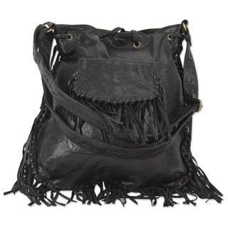 Leather Shoulder Bag, 'Bohemian Adventure' (India)