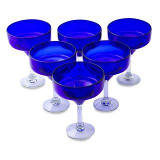 Handmade Set of 6 Blown Glass Margarita Glasses, 'Ever Blue' (Mexico)