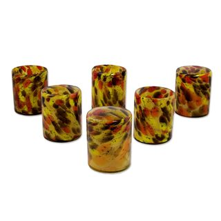 Handmade Set of 6 Blown Glass Rock Glasses, 'Amber Fantasy' (Mexico)