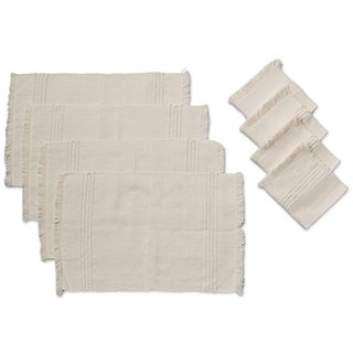 Set for 4 Cotton Placemats and Napkins, 'Chapala Clouds' (Mexico)