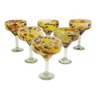 Handmade Set of 6 Blown Glass Margarita Glasses, 'Amber Fantasy' (Mexico)