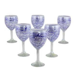 Set of 6 Blown Glass Wine Glasses, 'Blue Swirling Web' (Mexico)