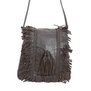 Handmade Leather Shoulder Bag, 'Goa Style' (India)