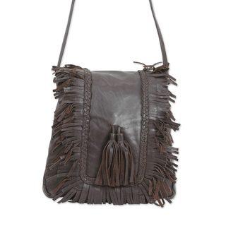 Leather Shoulder Bag, 'Goa Style' (India)