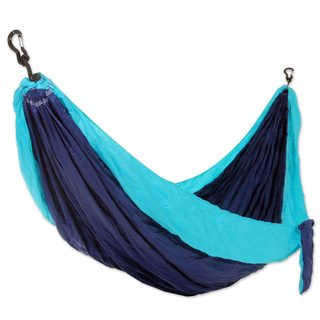 Handmade Double Parachute Hammock, 'Sea Dreams' (Indonesia)