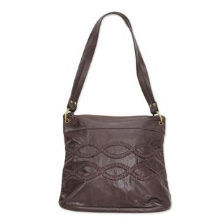 Leather Shoulder Bag, 'Chocolate Brown Delight' (India)