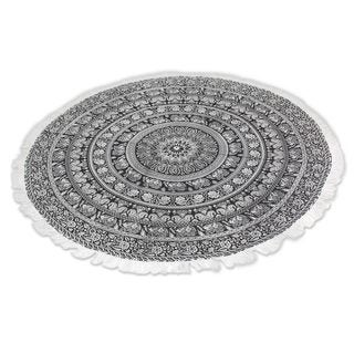 Handmade Cotton Beach Roundie, 'Mandala Grace' (India)