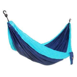 Handmade Single Parachute Hammock, 'Sea Dreams' (Indonesia)