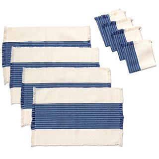 Set for 4 Cotton Placemats and Napkins, 'Ensenada Blue' (Mexico)