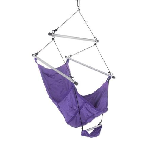Handmade Parachute Hammock Chair, 'Nusa Dua Purple' (Indonesia)