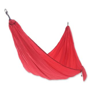 Handmade Double Parachute Hammock, 'Uluwatu Red' (Indonesia)