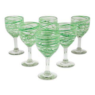 Handmade Set of 6 Blown Glass Wine Glasses, 'Emerald Swirl' (Mexico)