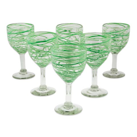 Handmade Set of 6 Blown Glass Wine Glasses, 'Emerald Swirl' (Mexico)