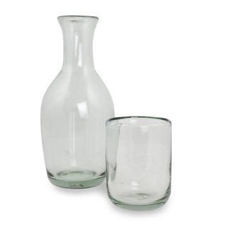 Handmade Blown Glass Carafe and Glass Set, 'Clarity' (Mexico)