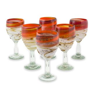 Set of 6 Blown Glass Wine Glasses, 'Caramel Fantasy' (Mexico)