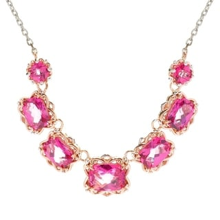 Michael Valitutti Palladium Silver Checkerboard Cut Cushion Pink coated Topaz Necklace