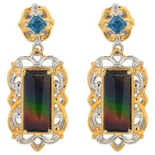 Michael Valitutti Palladium Silver Ammolite Triplet & London Blue Topaz Dangle Earrings