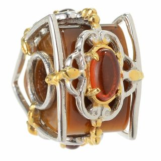 Michael Valitutti Palladium Silver Tiger's Eye Trillion Bead & Amber Slide-on Charm