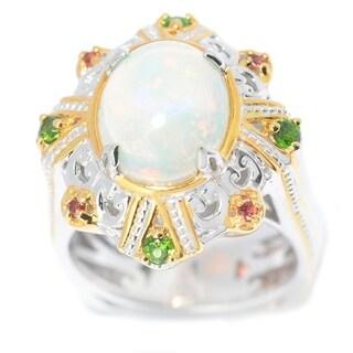 Michael Valitutti Palladium Silver Ethiopian Opal & Multi Gemstone Euro Shank Ring
