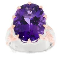 Michael Valitutti Palladium Silver Congo Amethyst Leaf Detailed Solitaire Ring