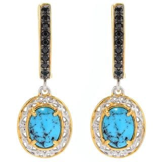 Michael Valitutti Palladium Silver Spider Turquoise & Black Spinel Drop Earrings with Hinged Back