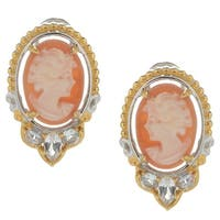 Michael Valitutti Palladium Silver Carved Shell Cameo & White Topaz Earrings