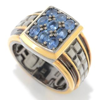 Michael Valitutti Palladium Silver Ceylon Blue Sapphire Nine-Stone Textured Men's Ring