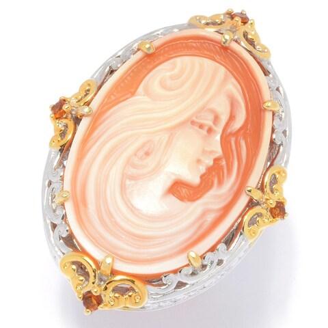 Michael Valitutti Palladium Silver Carved Shell Portrait Cameo & Madeira Citrine Ring