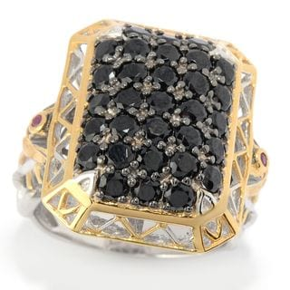 Michael Valitutti Palladium Silver Pave Black Spinel & Ruby Pharaoh Men's Ring