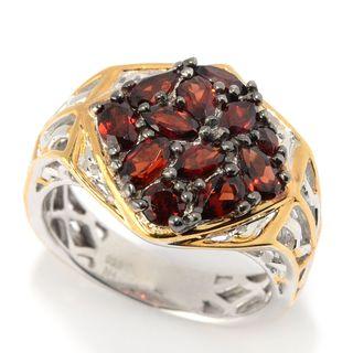 Michael Valitutti Palladium Silver Multi Shape Garnet Cluster Scrollwork Men's Ring