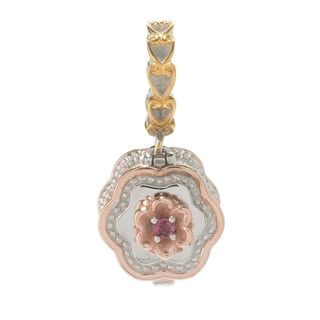 Michael Valitutti Palladium Silver Two-tone Pink Tourmaline Treasure Box Drop Charm