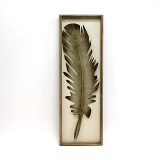 'Silver-colored Metallic Feather' Framed Wall Art