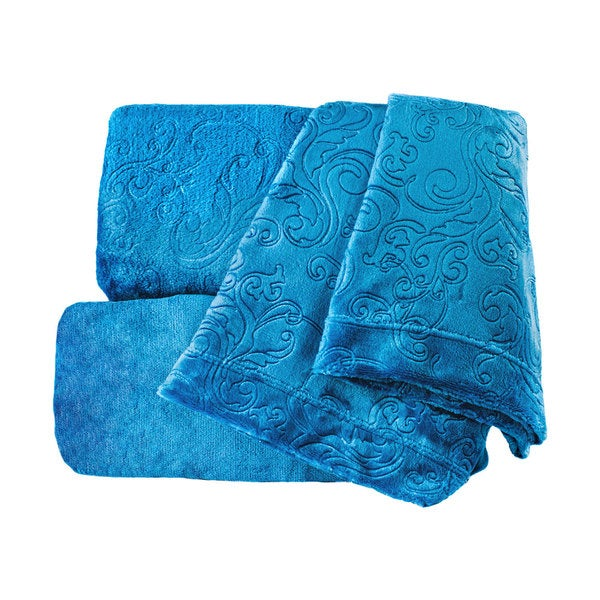 Embossed Supreme Comfort Plush Teal Sheet Set with Scroll Design