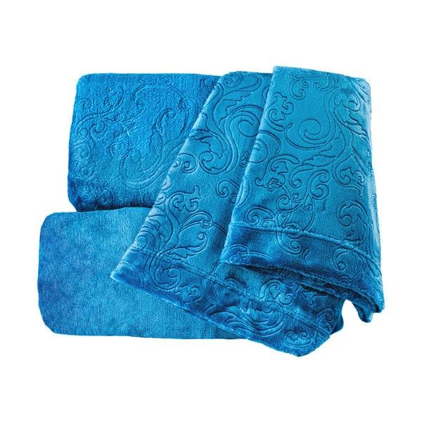 Embossed Supreme Comfort Plush Teal Sheet Set with Scroll Design