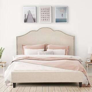 Ariel Upholstery Platform Bed. Vintage Bedroom Furniture For Less   Overstock com