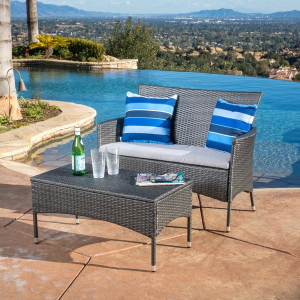 Malta 2 piece outdoor wicker loveseat and table set by for Outdoor furniture malta