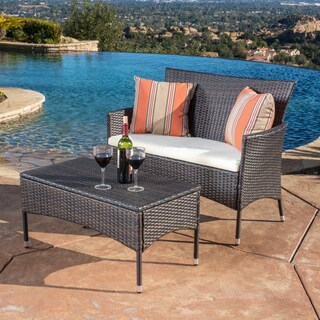 Malta 2-piece Outdoor Wicker Loveseat and Table Set by Christopher Knight Home (4 options available)