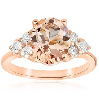 14K Rose Gold 2 1/3 ct TW Oval Morganite & Diamond Engagement Ring (I-J,I2-I3)