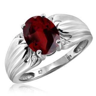 Jewelonfire Sterling Silver 1 1/5ct TW Garnet and 1 1/5ct TDW White Diamond Ring (H-I, I2-I3)