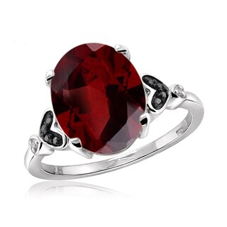 Jewelonfire Sterling Silver 1 1/5ct TW Garnet and 1 1/5ct TDW Black and White Diamond Ring (H-I, I2-I3)