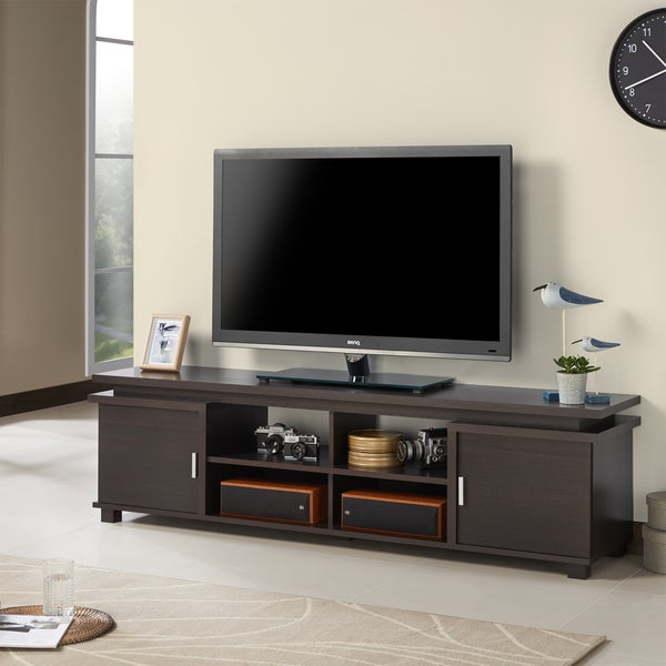 Shop Furniture Of America Mollens Espresso Open Storage 70 Inch Tv
