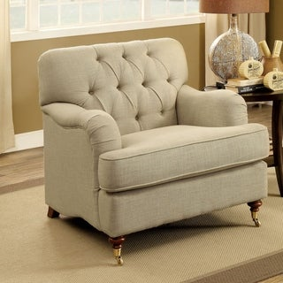 Furniture of America Claira Traditional Deep Button Tufted Beige Fabric Arm Chair