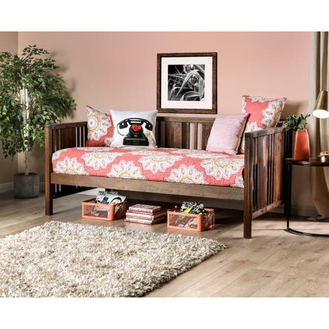 Furniture of America Bosa Rustic Walnut Solid Wood Slatted Daybed