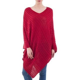 Handcrafted Acrylic Blend 'Red Inca Maze' Poncho (Peru)
